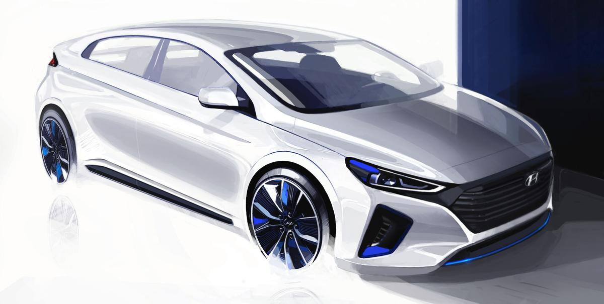 This rendering teased before the unveil shows the conceptual body styling of the new IONIQ