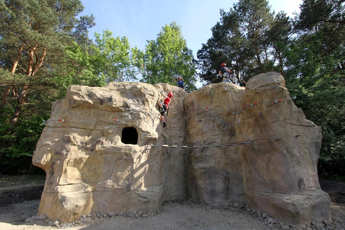 Climb Up! has constructed a test boulder that is 16 feet high (5 m) high