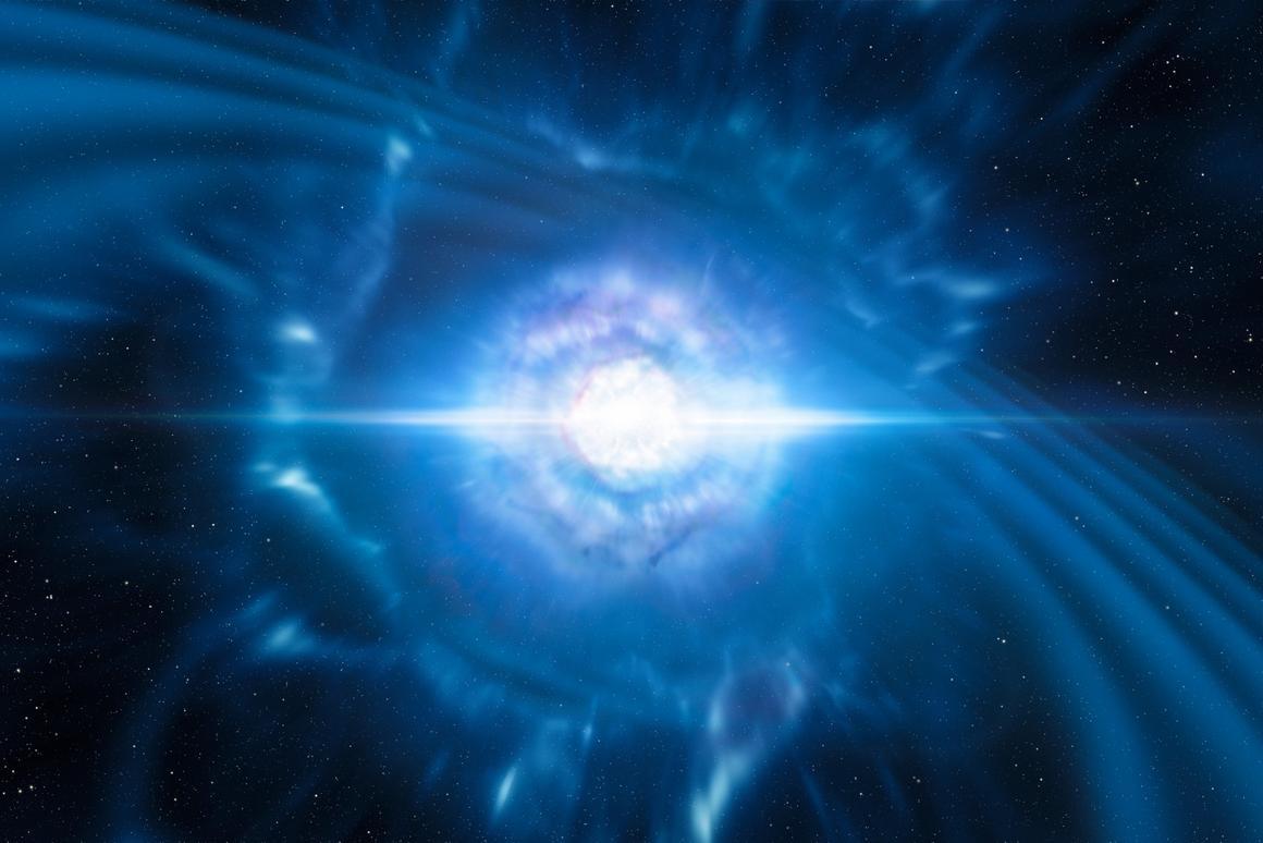 Artist's impression of two neutron stars merging