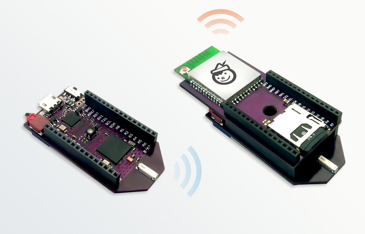 The Pinoccio microcontroller has an optional Wi-Fi shield available for internet connection