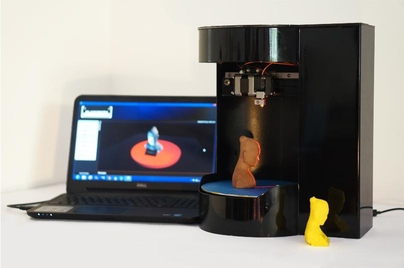 The Blacksmith Genesis all-in-one 3D printer, scanner, and copier boasts a compact size and simple operation thanks to its use of a rotary platform