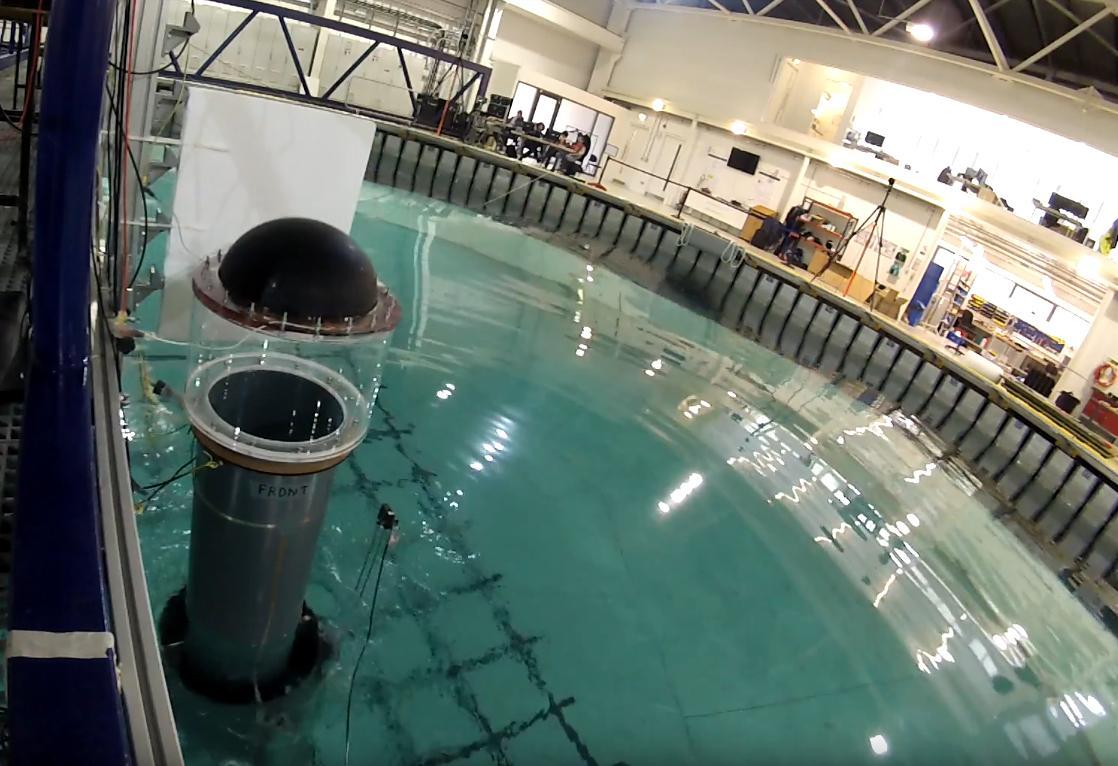 A prototype DEG (left),at the University of Edinburgh's FloWave Facility
