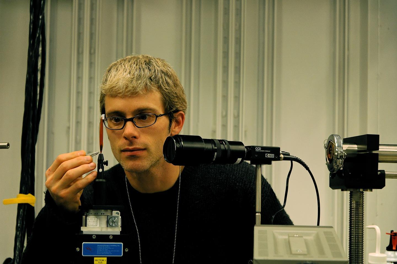 Team member Jake Socha at work in his lab.
