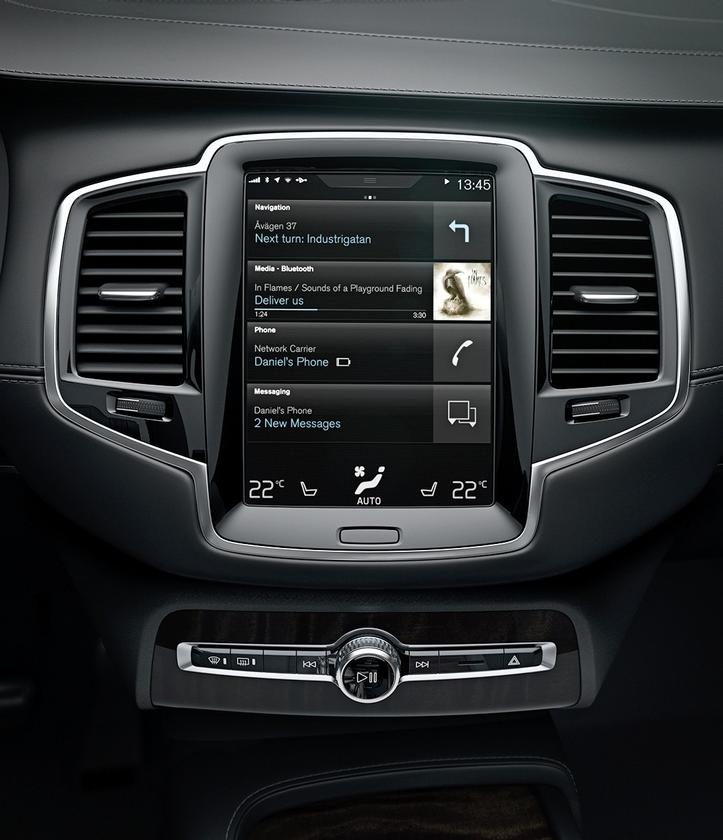 """Volvo's new """"Sensus"""" infotainment system features a large touchscreen to replace the array of buttons that we see in most cars"""