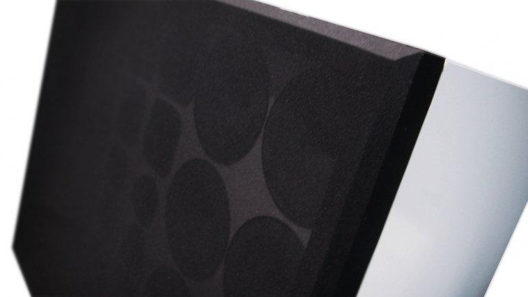 Close up of the array of 28 speakers, each one individually housed in its own compartment