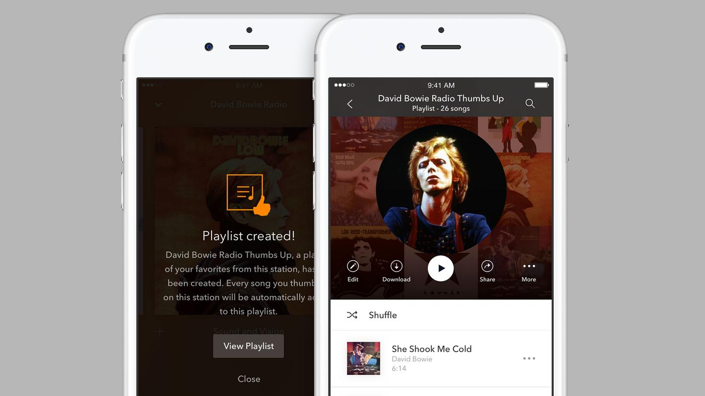 """Creating a playlist based on tracks you've given a """"thumbs up"""" is one of Pandora Premium's perks"""