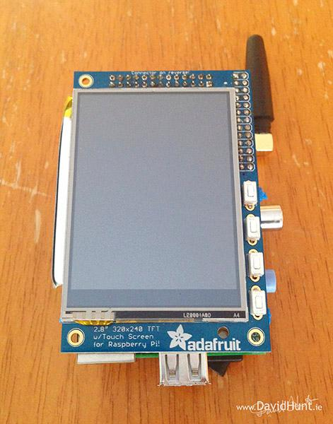 The PiPhone features a 2.8-inch Adafruit PiTFT touchscreen at 320 x 240 resolution