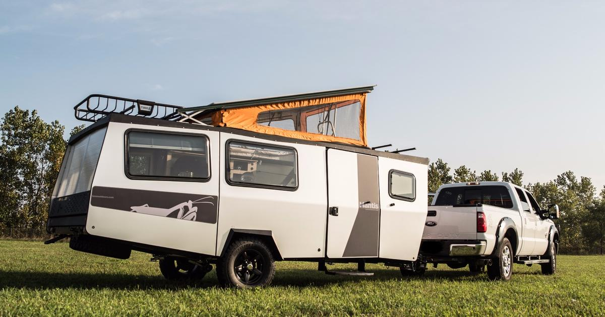 Taxa stretches its forelegs with the Mantis camping trailer