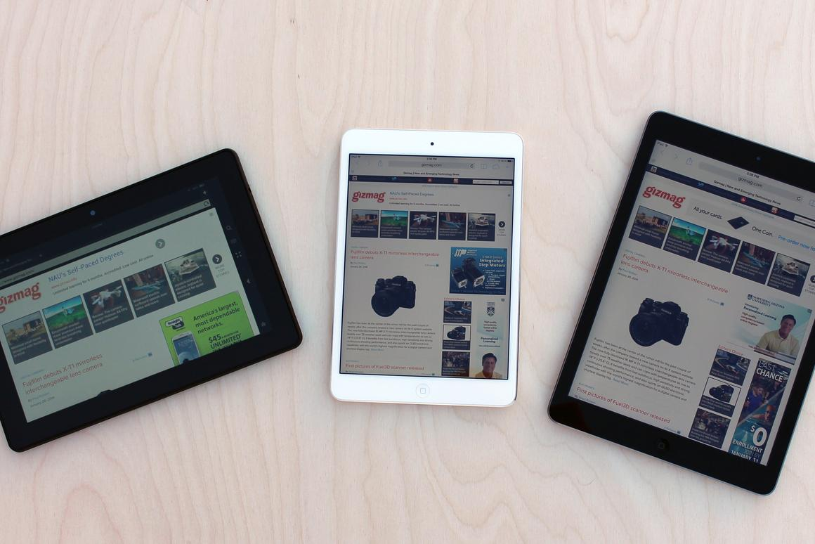 Up close: Kindle Fire HDX 8 9 vs  iPad Air & Retina iPad mini