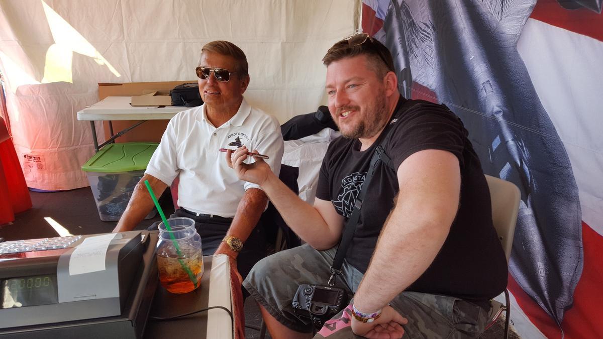 Sled Driver Brian Shul, left, with New Atlas's Loz Blain, Reno Air Race 2016