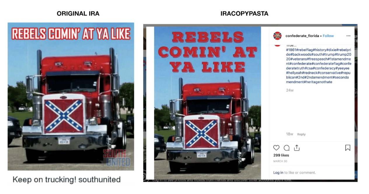 An example in the Graphika report showing how a meme previously identified as coming from Russian sources in 2016 has been repurposed by similar Russian agents in 2019.