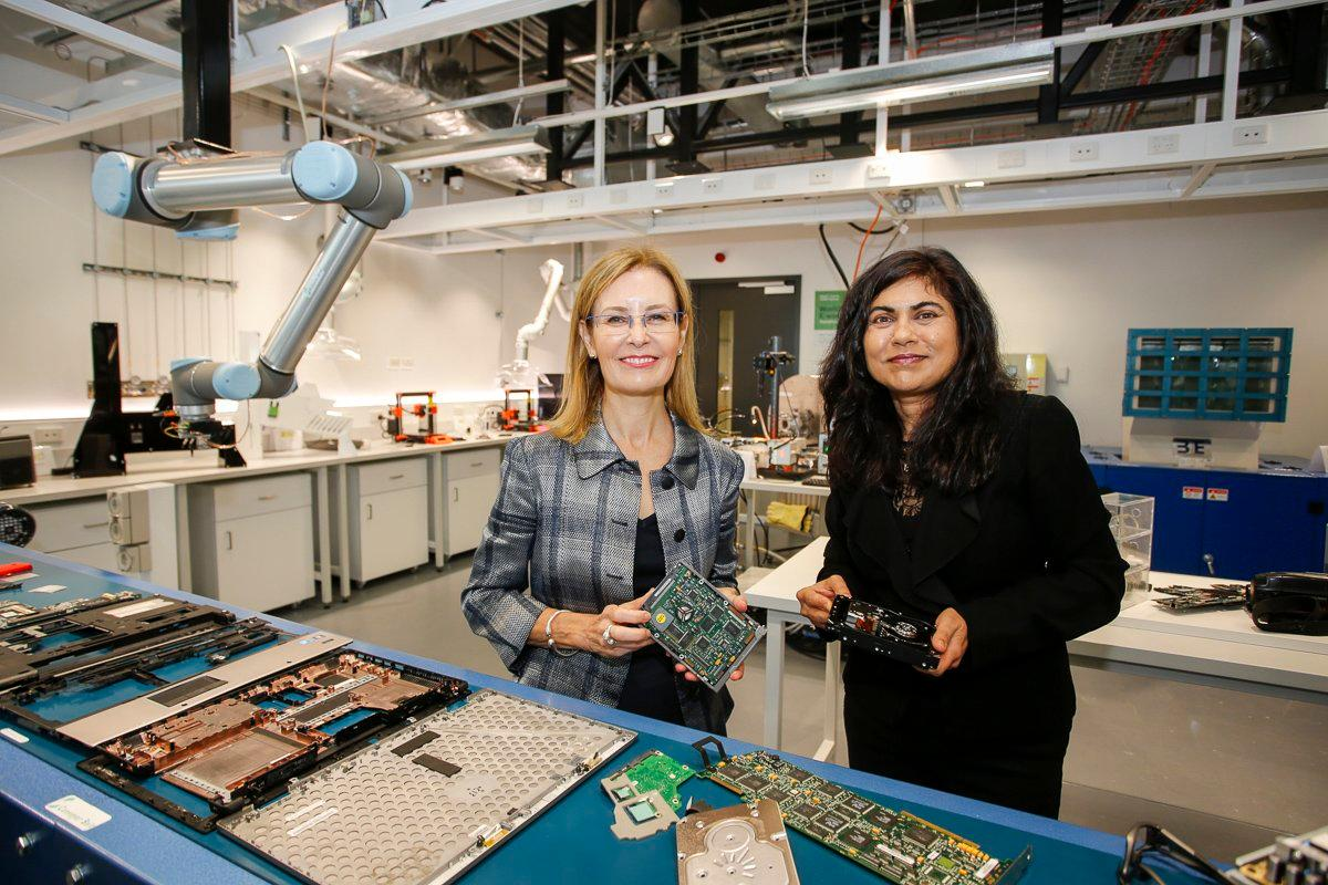 Minister for the Environment for New South Wales Gabrielle Upton (left) and the SMaRT project's Professor Veena Sahajwalla at the launch of the world's first e-waste microfactory