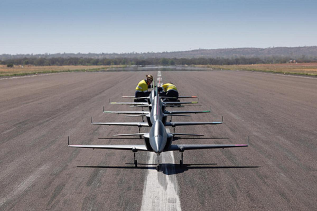 The squad of five autonomous jets being prepared for takeoff