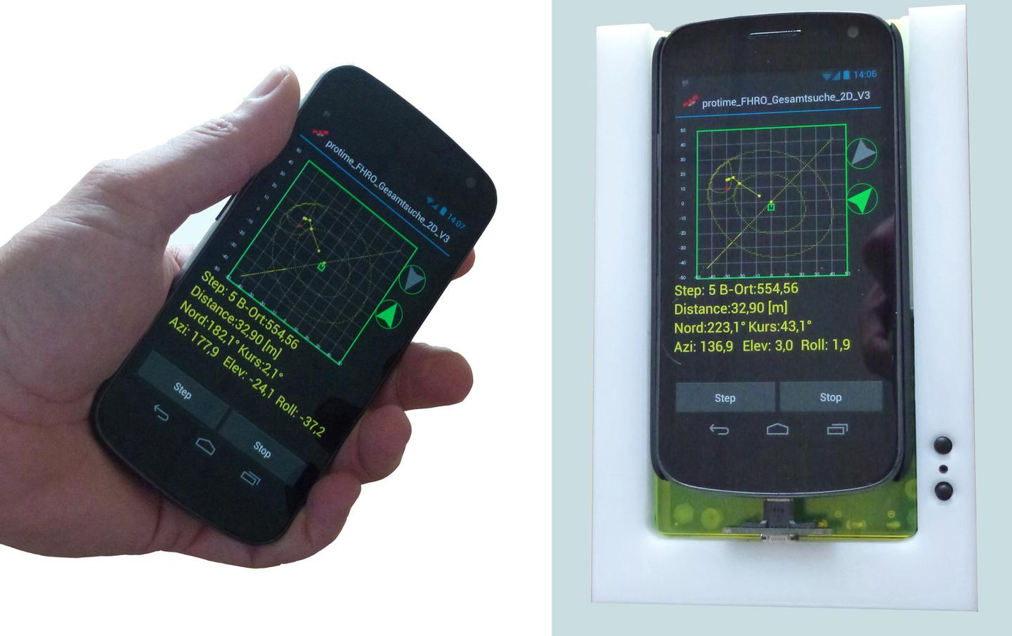 The Galileo-SmartLVS hardware (prototype pictured) coupled with the LawinenFon app transforms a smartphone into an avalanche transceiver (Photo: Fraunhofer IML)