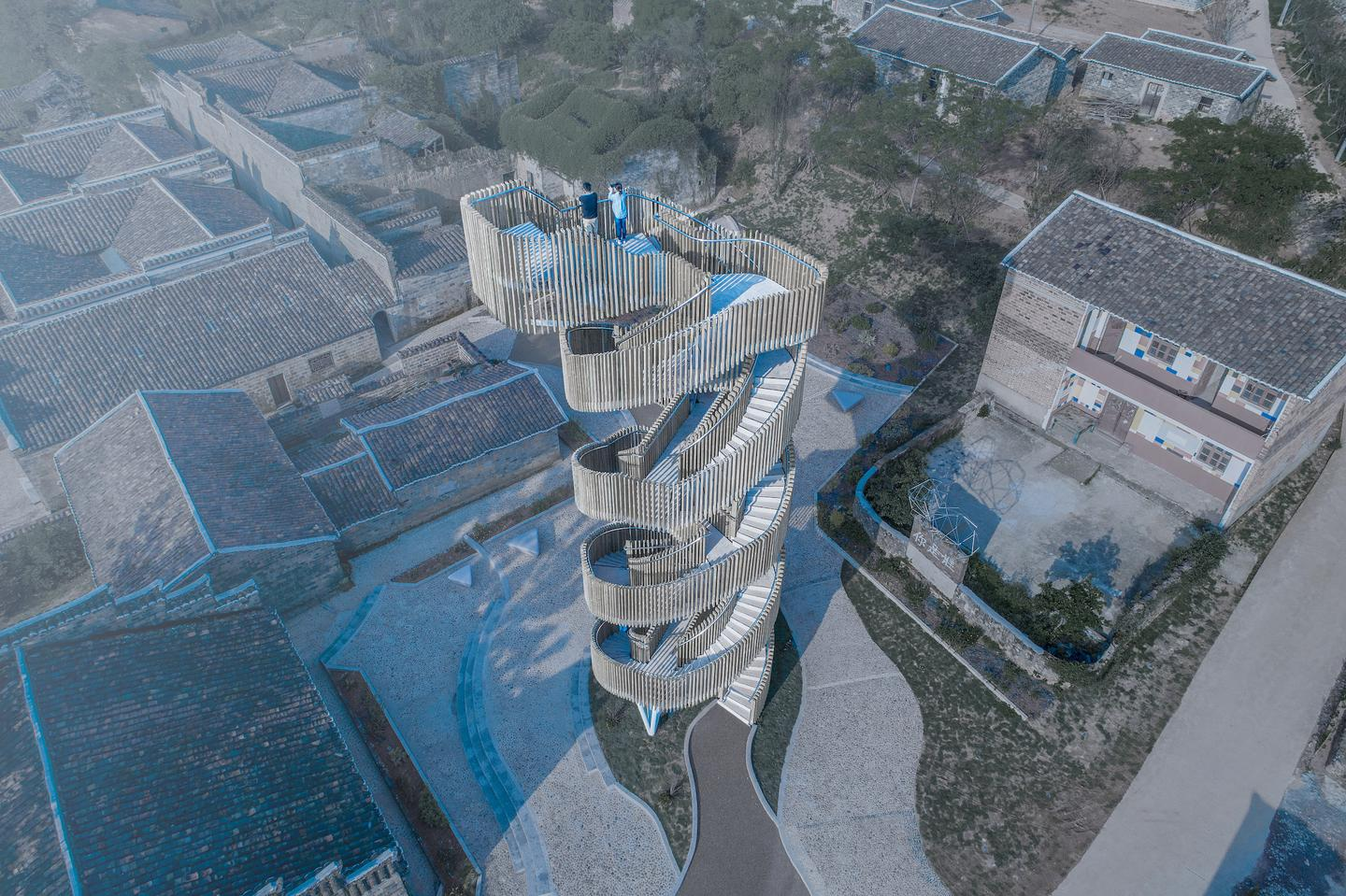 Dafang Creative Village features a watchtower with two intertwining staircases