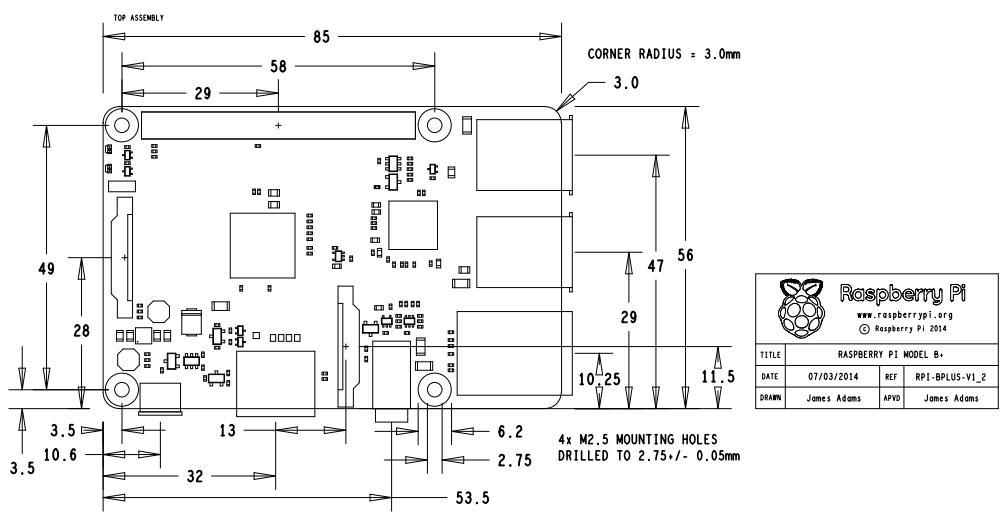 The mechanical specs of the Raspberry Pi Model B+