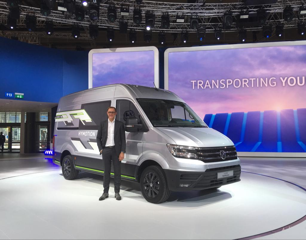 Volkswagen announced the Crafter HyMotion concept atthe 69th IAA Commercial Vehicles showin Hannover