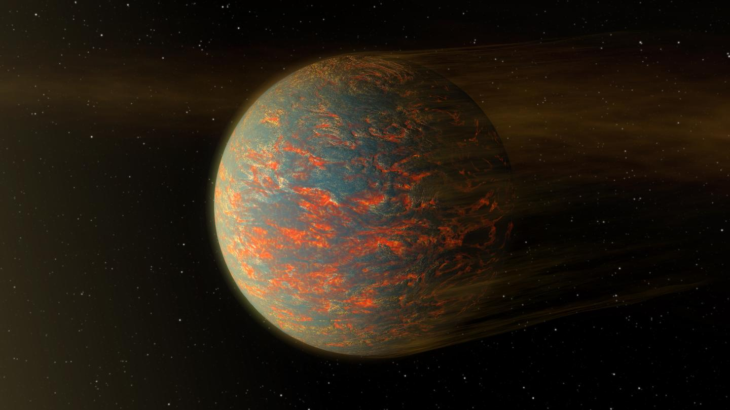 An artist's impression of a planet with a molten magma surface, similar to how Earth may have been in the early days