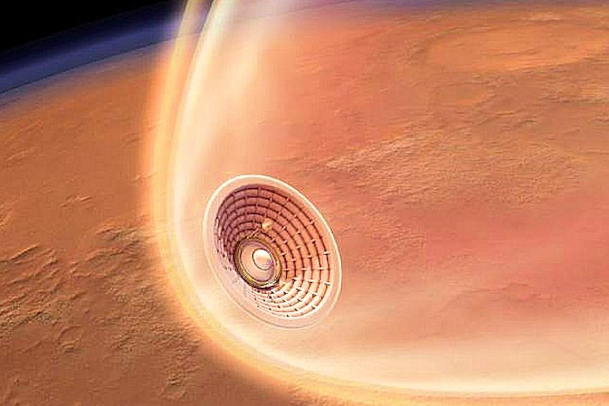 NASA inflatable reentry vehicle during plasma phase of Mars landing (Image: NASA)