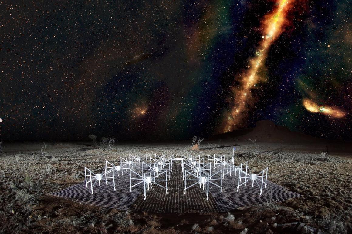 "A ""radio color"" view of the sky above a ""tile"" of the Murchison Widefield Array radio telescope, located in outback Western Australia"