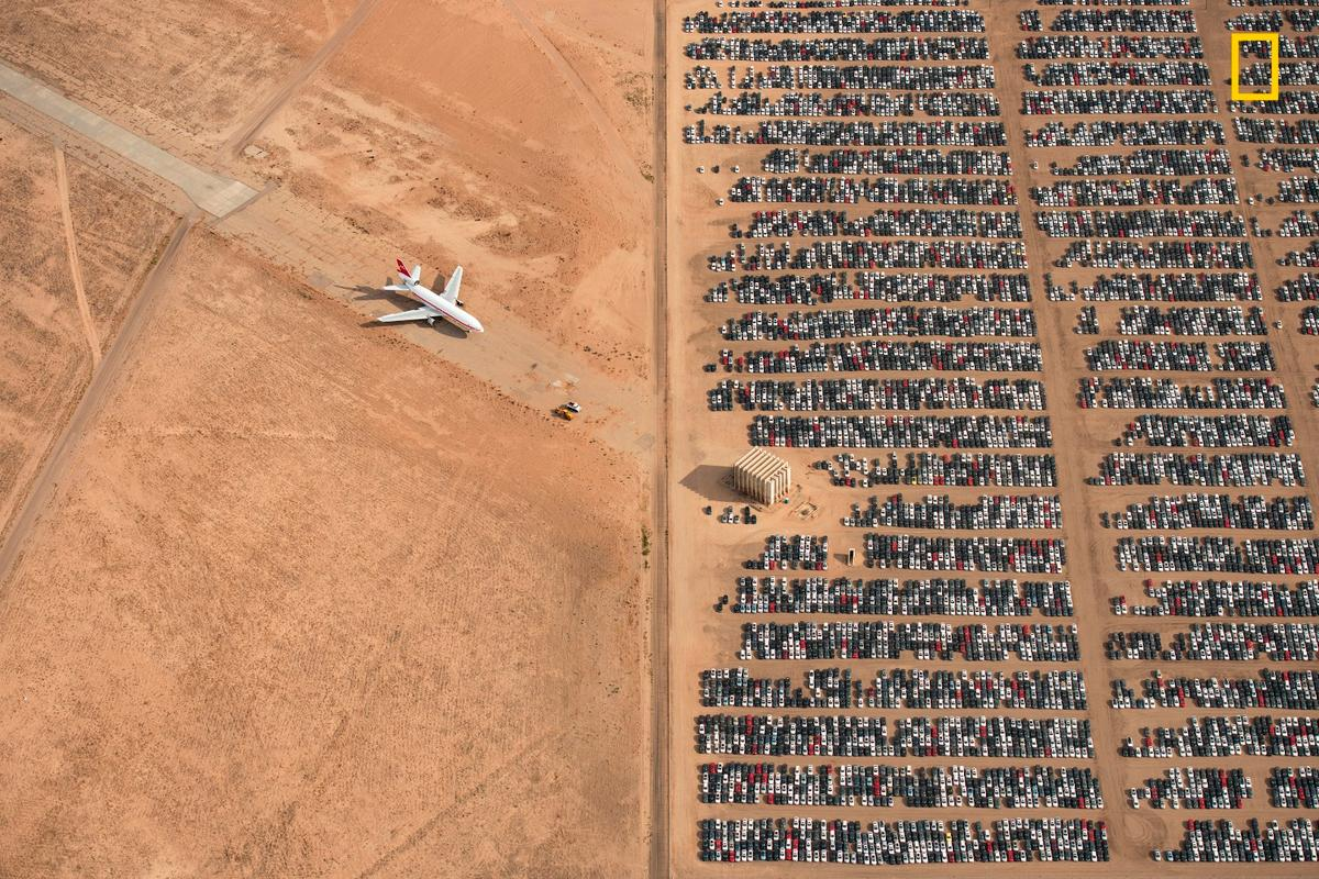 Grand Prize Winner. Thousands of Volkswagen and Audi cars sit idle in the middle of California's Mojave Desert