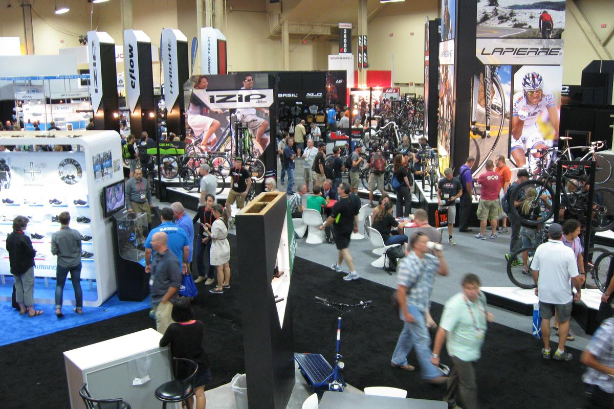 The busy trade show floor at Interbike 2013