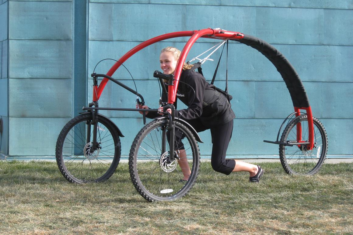 Dr Carsten Mehring has designed a human-powered three-wheeler which suspends its user from a curved frame and is said to offer a sensation of flying along without worrying about getting air sick