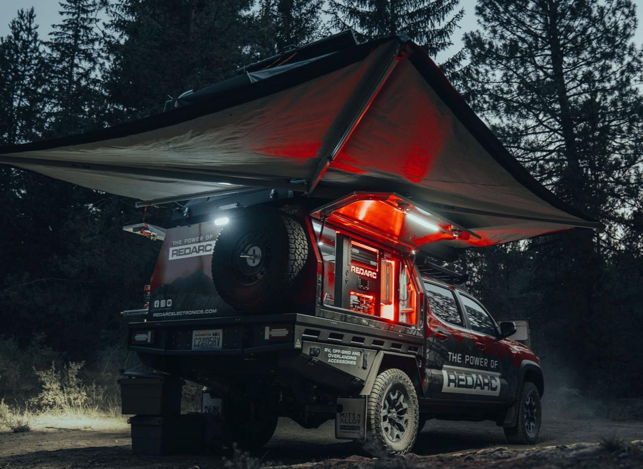 The 270-degree Alu-Cab awning provides shade