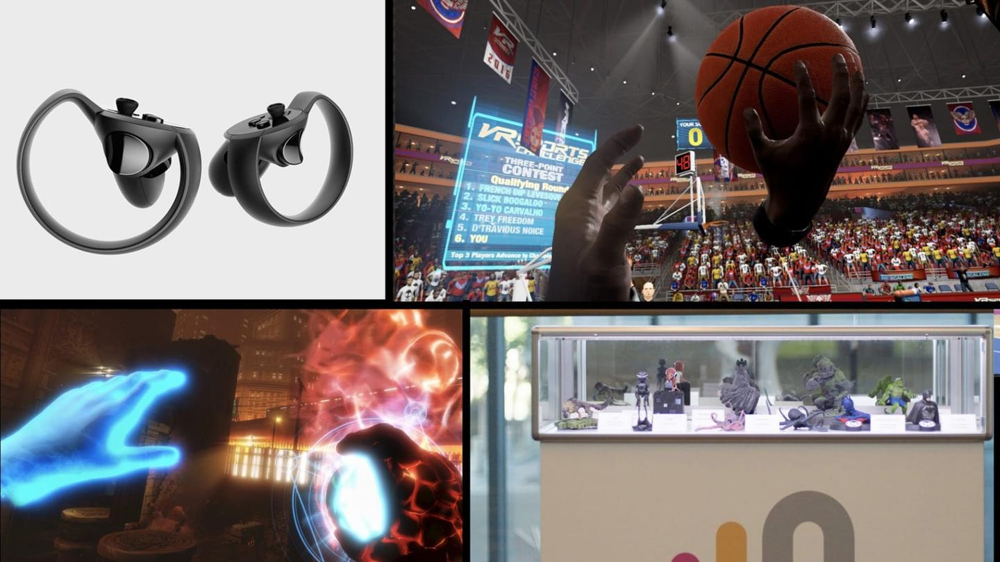 Three Oculus Touch titles (clockwise, from top-right): VR Sports Challenge, Oculus Medium, The Unspoken