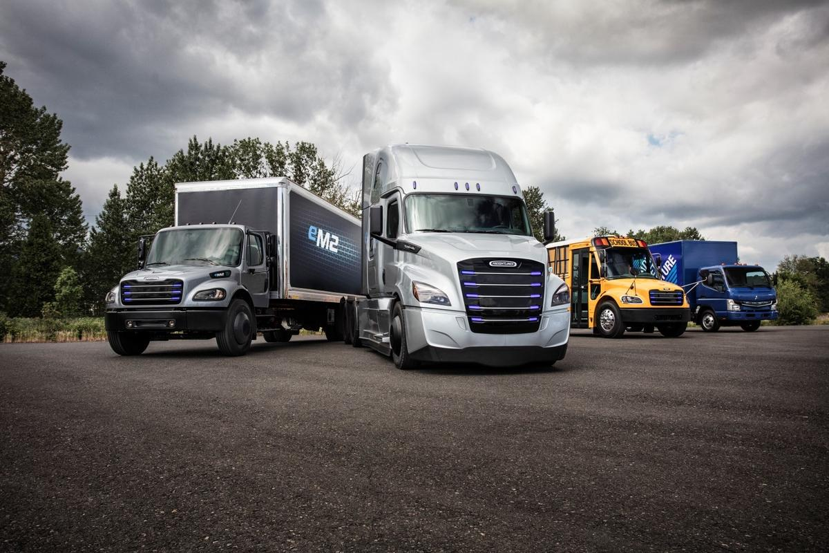 Most of the Daimler Trucks electric offerings in North America are shown in this lineup