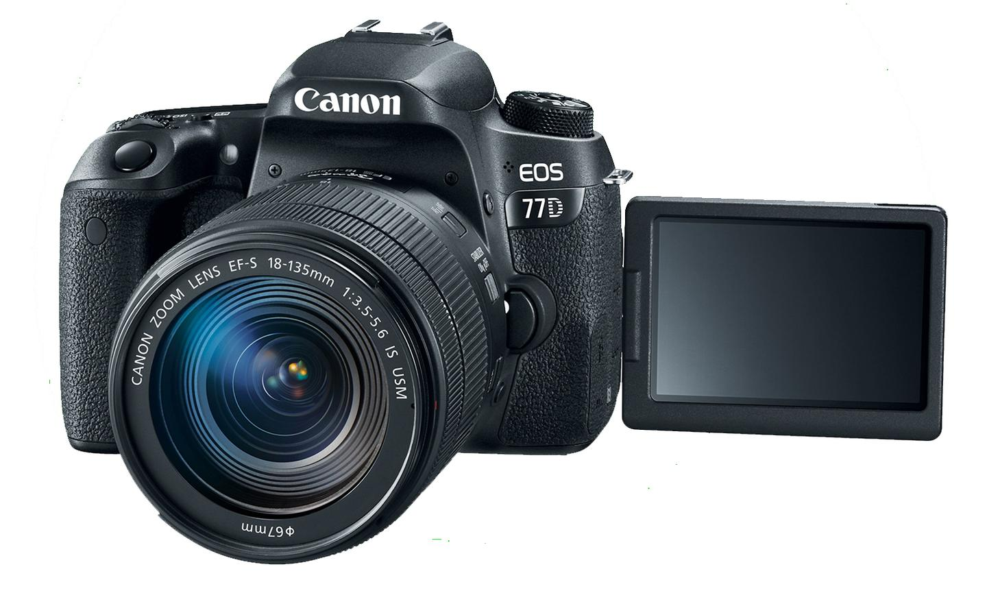 The Canon EOS 77D features a 3-inch vari-angle LCD monitor