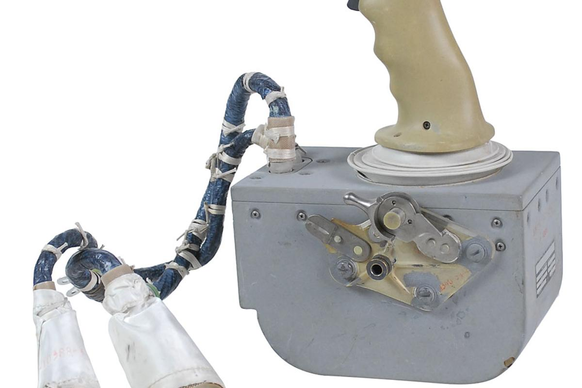 The Lunar Module rotational hand controller used by Dave Scott on board Apollo 15's Lunar Module Falcon that is up for auction