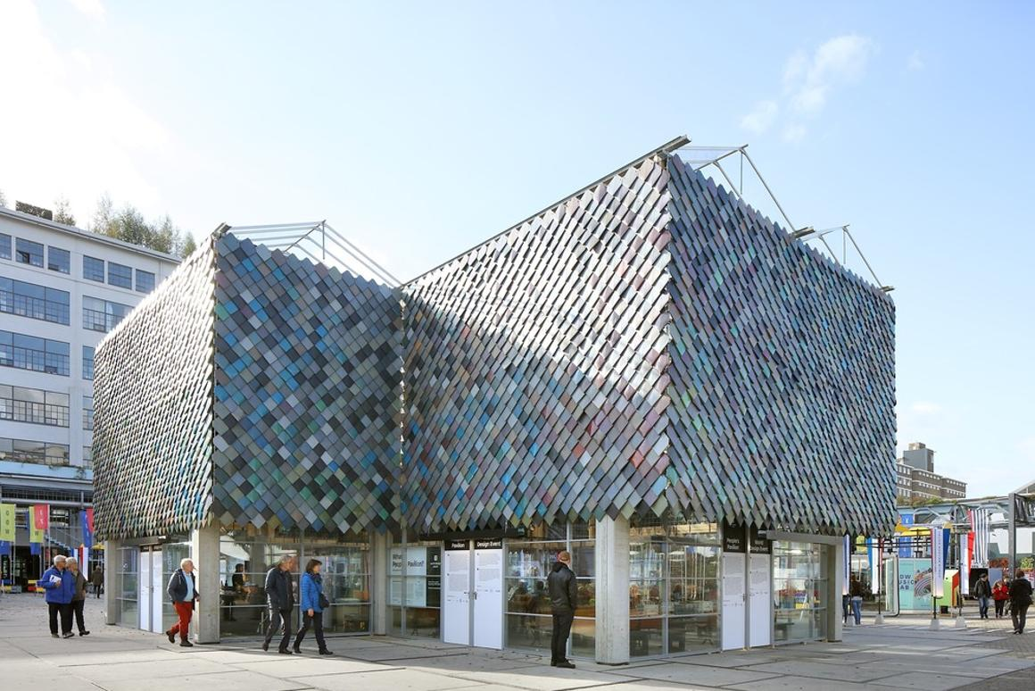 The People's Pavilion's upperfacade comprisescolored plastic tiles made by recycling household waste