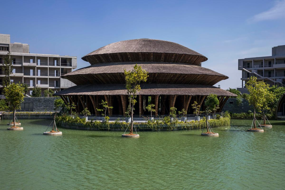The Vedana Restaurant reaches a height of 18 m (60 ft), making it VTN Architects' tallest bamboo building to date
