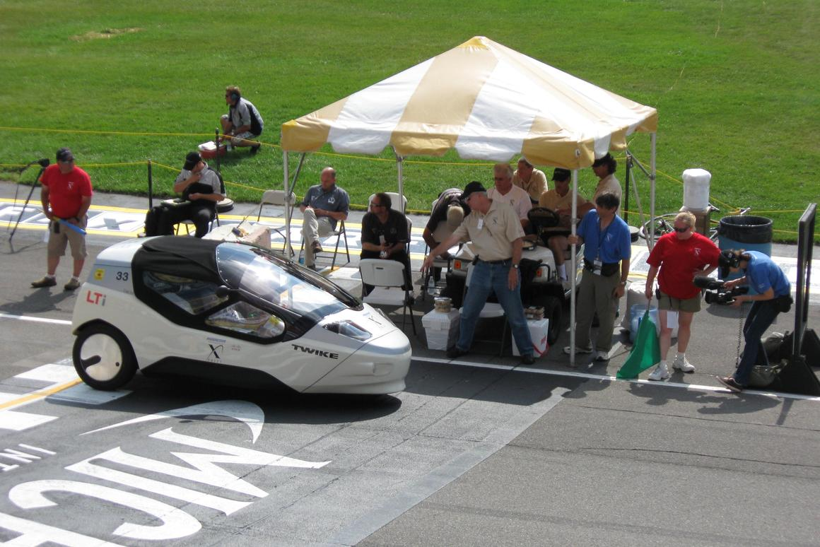The TW4XP three-wheeler, representing the production human/electric hybrid Twike