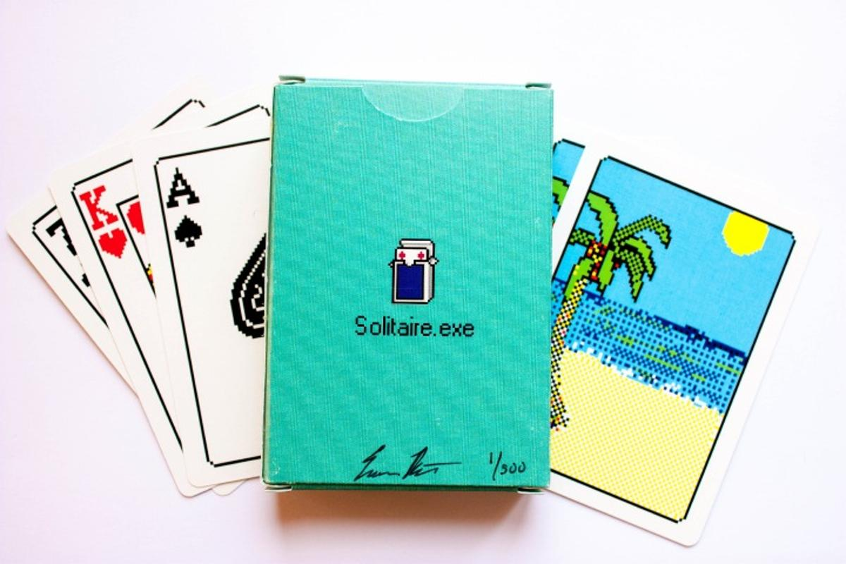 Solitaire.exe is a limited edition deck of playing cards designed by Evan Roth to mimic the look of the old Windows 98 version of the iconic game