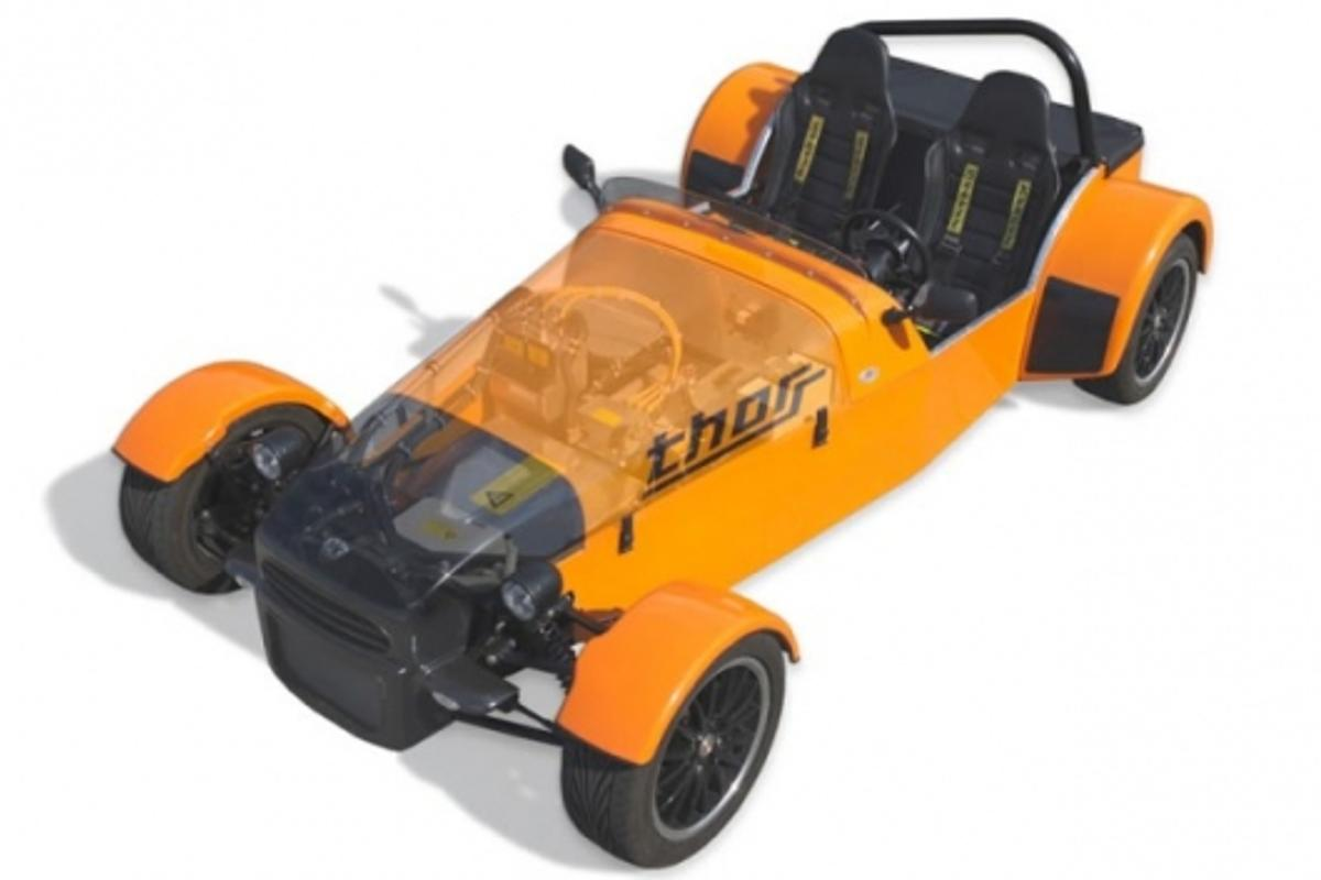 Evisol's ThoRR electric open-wheel car, inspired by road racers like the Lotus/Caterham Seven.