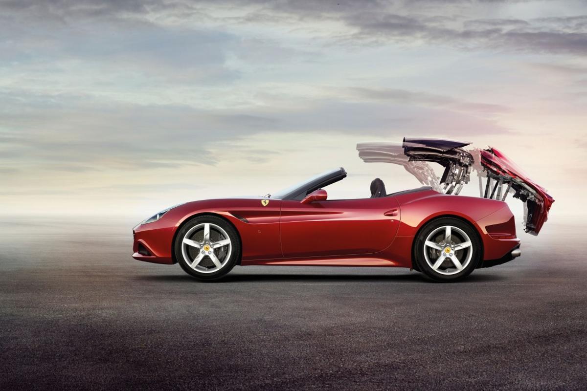 The Ferrari California T flipping its top