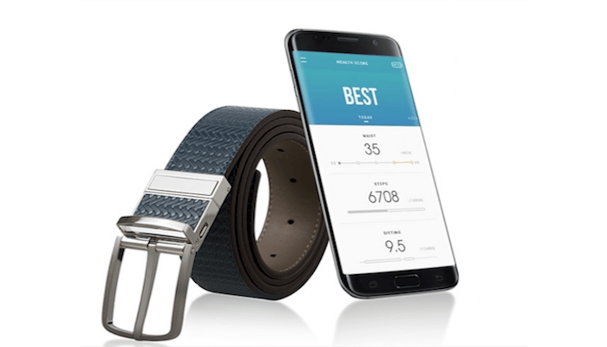Welt is a fitness tracker hidden in a belt, which monitorssteps taken, time spent sitting and waist size over time