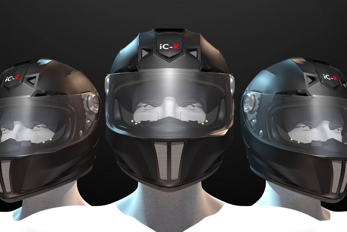 Intelligent Cranium's iC-R helmet is the most ambitious high-tech helmet project we've seen to date - twin rear vision cameras, twin transparent LCD heads-up displays, built in GPS, Bluetooth intercom, phone connectivity, LiDAR collision warnings, and an electronically tinting visor, all topped off with a built-in solar panel.