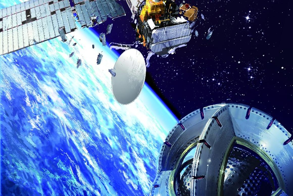 Artist's concept of a magnetic tug nearing a derelict satellite