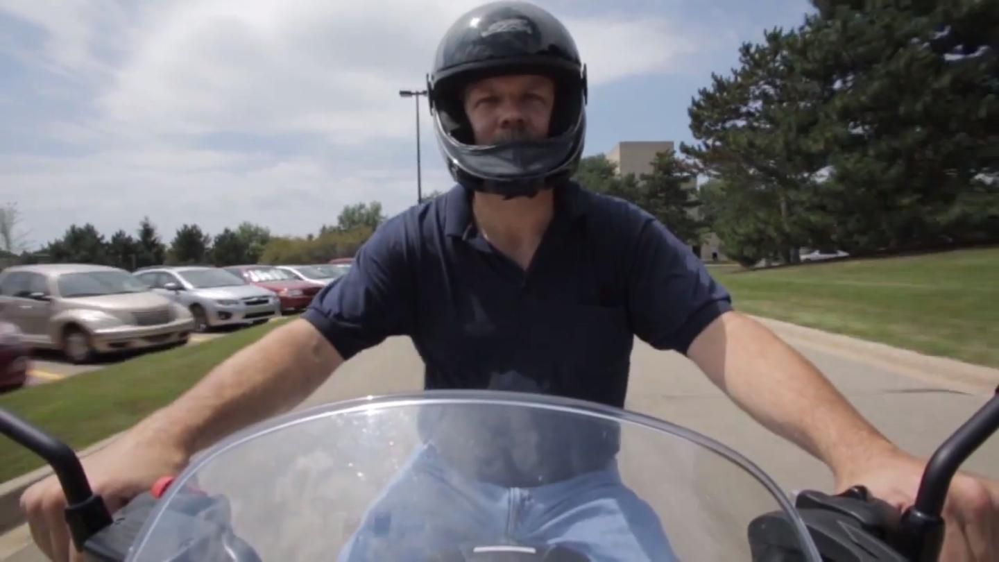 Yes, it's a motorcycle safety study and this guy is riding in a t-shirt.