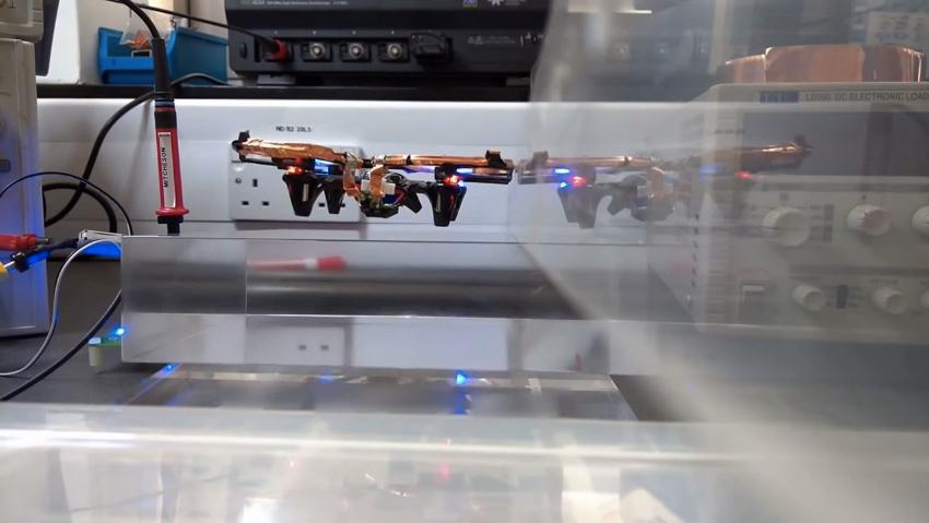 The Imperial College drone, flying without a battery or tether
