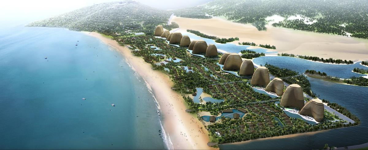 Spread across 1,800 acres will be seven hotels, a theme park, a casino, a beach club, a mountain clubhouse, and 500 residential ocean-facing villas