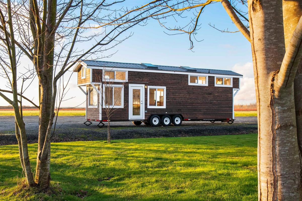 The 34ft Eco-Friendly Tiny House RV gets power from a standard RV-hookup and is wired ready for solar panels, for when the owner chooses to install them