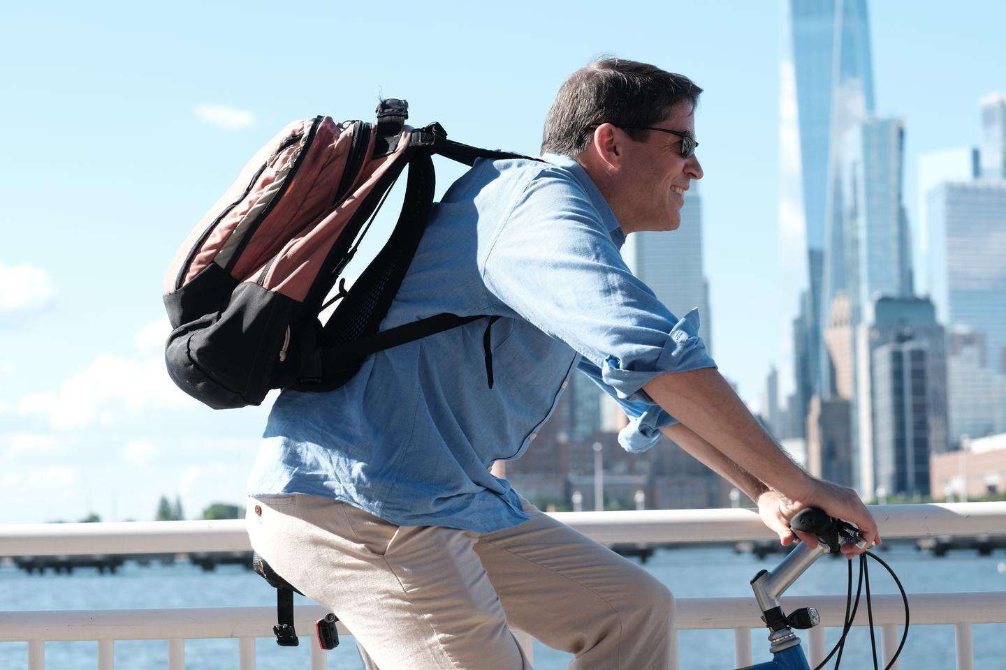 VentaPak creator Mark Dingle, using the device with a third-party backpack
