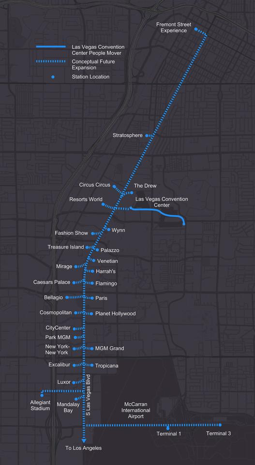 A so-called Vegas Loop could one day include stops at the Bellagio, Mandalay Bay and McCarran Airport
