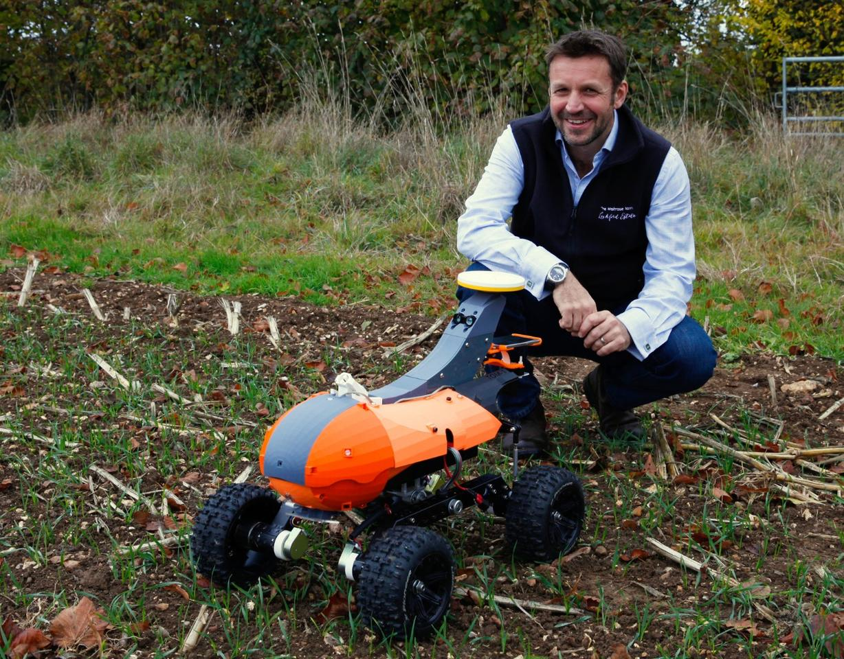 Andrew Hoad, Partner & Head of the Leckford Estate with the Tom monitoring robot prototype
