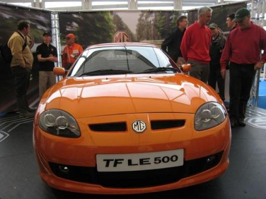The new MG TF 2-seater sportscar, unveiled at Silverstone in the UK.