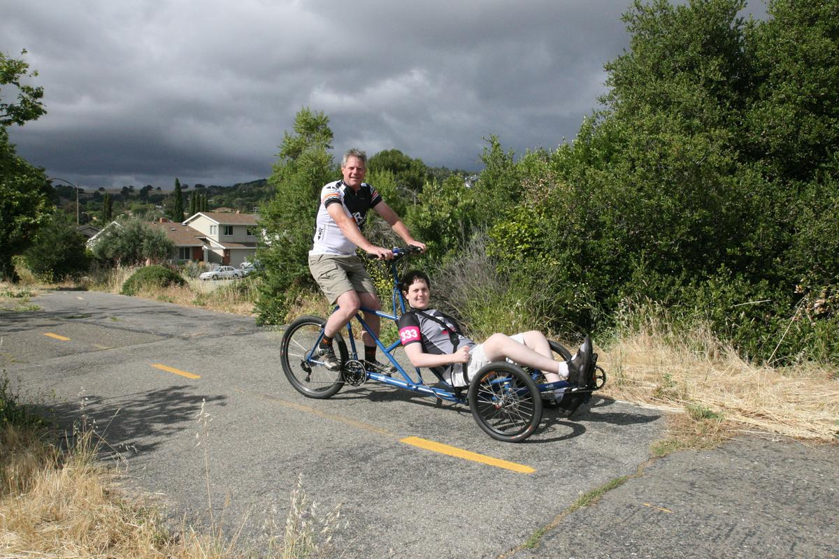 Dave and Rob Thompson on their tandem recumbent/upright trike(Photo: Dave Thompson)